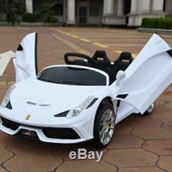 12v Enfants Ride On Super Sports Car Toy Électrique Batterie À Distance Control Mp3 Blanc
