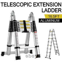 16.5ft Aluminium Télescopique Échelle De Pliage Étape Multi-usage Non-glissement 5m