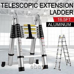 16.5ft Échelle D'extension Télescopique En Aluminium Étape Pliable À Usages Multiples