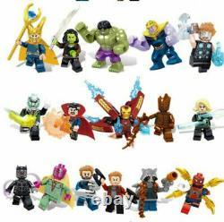 16pcs Marvel Super Heroes Lego Avengers Infinity Guerre Mini Figurines Homme Hulk Set