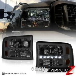 1999-2004 Ford F250 F350 F450 Sd Superduty Smoke Bright Led Headlight Assemblage
