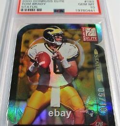 2000 Tom Brady Elite Status Super Rare Limited S/n (xx/10) Psa 10 Rookie Donruss