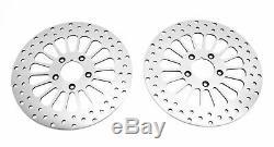 2 Poli 11,5 Super Spoke Frein Avant Double Disque Disque Rotor Paire Rotors Harley