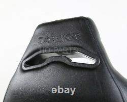 2 X Tanaka Noir Pvc Sièges De Course En Cuir + Inclinable Diamant Point Fits Vw