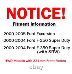 4x4 2000-2004 Ford F-250 F-350 Sd -avant 331mm / Arrière 326mm- Rotors De Frein Pads