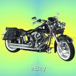 6pc En Cuir Véritable Moto Sacoches Selle Barrel Pare-brise Pour Harley