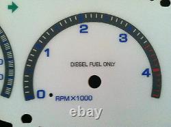 99-02 Ford F250 F350 Excursion Super Duty White Face Cluster Gauges Diesel Km