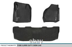 99-07 Ford Super Duty Crew Cab Smartliner Tapis De Sol D'ajustement Personnalisé Liner Black Set
