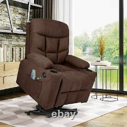 Auto Electric Power Lift Massage Chaise Inclinable Heat Vibration Usb Control Wheel