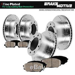 Avant + Arrière Drill Fente Frein Rotors Et Plaquettes En Céramique Pour Ford Excursion F250 F350