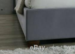 Balmoral Aile Arrière Super King Size Cadre 6ft 180cm Tissu Velours Gris