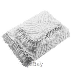 Bianca Savannah Super Soft Cotton Quilt Covert Chenille Set Blanc