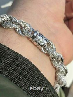 Bracelet Corde 10mm Homme Real Solid 925 Sterling Silver 20ct Diamonds Super Icy