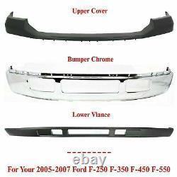Bumper Avant Chrome + Supérieur + Inférieur Pour 2005-2007 Ford F-250 F-350 Super Duty