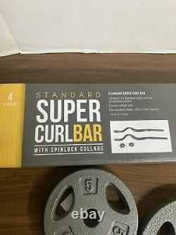 Cap Super Curl Bar Set Avec Colliers De Verrouillage Et 30 Lbs De Plaques De Poids Standard