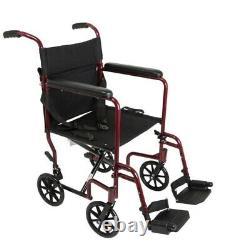 Chaise De Transport En Aluminium De Bourgogne Super Léger Chaise Roue 19 Lb