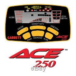 Détecteur De Métaux Garrett Ace 250 Avec Waterproof Coil Version USA Livraison Gratuite