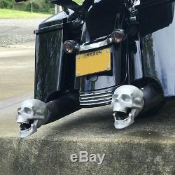 Ensemble De 2 Crâne D'échappement Muffer Conseils Adapter Hot Rods Harley Tiges De Rue Moto V8