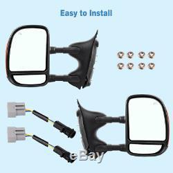 Fit Pour 99-07 Ford F250 F350 Super Duty Remorquage Miroirs Électriques Et Chauffants Signal