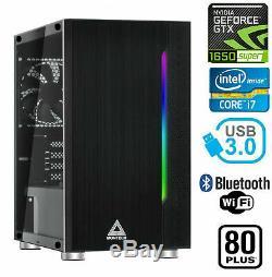 Gaming Pc De Bureau D'ordinateur Rvb Intel Core I7 Gtx 1650 Super, 16 Go, Disque Dur 2 To, 240 Go Ssd