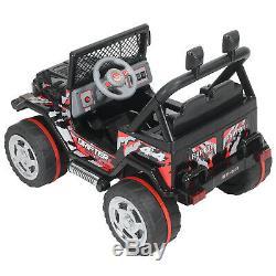 Noir 12v Tour Sur La Voiture Électrique De La Batterie Enfants Jouet Jeep Télécommande 3speed musique