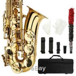 Nouveau Débutant Étudiant Super Sound Peinture Or Eb Saxophone Alto Sax Withcase