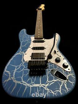 Nouvelle Guitare Électrique 6 String Super Strat Blue Krackle Finish Floyd Rose Style