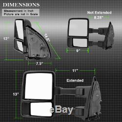 Pair (2) 2008-2016 Ford Super Duty F250f550 Manuel Attelage De Remorque Miroir Led Signal