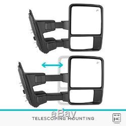 Paire Pour 99-07 Ford F250 F350 Super Duty Remorquage Miroirs Extérieurs Électriques Et Chauffants Signaux Ambre