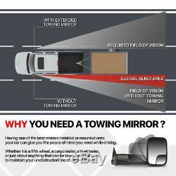 Paire Puissance + Led Chauffée Signal De Remorquage Miroir De Côté Pour 99-07 Ford F250 Super Duty