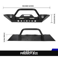 Pare-chocs Avant En Acier Avec Treuil Plate 2 Étape De Finition Pour Jeep Wrangler Jk 07-18