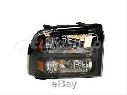 Pour 05-07 Ford F-super Duty F250 F350 Harley Plaque De Pare-choc Avant Txt Grille Blk 8pc