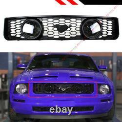Pour 05-09 Ford Mustang 4.0l V6 Front Mesh Grill Double Objectif De Fumée Halo Feux De Brouillard