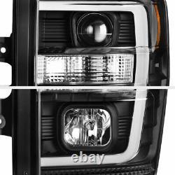 Pour 08-10 Ford F250 F350 F450 Superdust Black Led Projecteur De Tube Phare