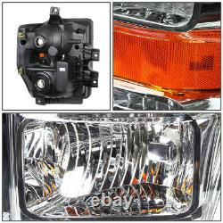 Pour 08-10 Ford F250 F350 Super Duty Chrome Boîtier Ampoules De Phare D'angle Ambre