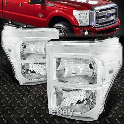Pour 11-16 Ford F250 F350 Super Duty Chrome Housing Clear Corner Phares
