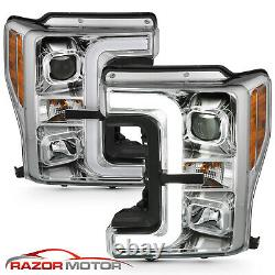 Pour 17-19 Ford Super Duty F-250/350 Xlt Chrome Led Bar Projecteur Phares
