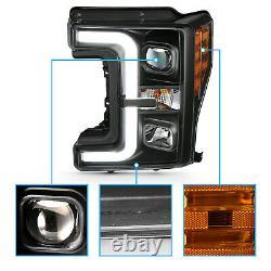 Pour 17-19 Ford Super Duty F-250 F-350 XL Xlt Black Led Bar Projecteurs Phares