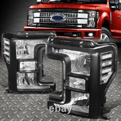Pour 17-20 Ford F250 F350 Super Duty Boîtier Noir Clair Coin Phares Lampes