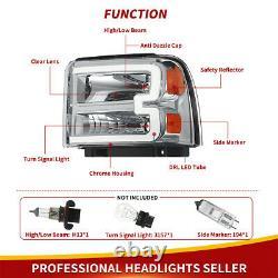 Pour 2005-2007 Ford F350 F450 F550 Super Fonction Led Drl Bar Phares Phares