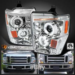 Pour 2008-2010 Ford F250 F350 F450 Super Duty Clear Led Halo Projecteur Phares