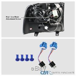 Pour 99-04 F250 F350 F450 Super Duty Black Led Halo Projecteur Phares Lampes