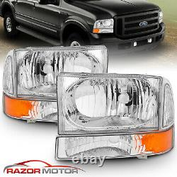 Pour 99-04 F250/f350/f450/f550 Super Duty/00-04 Ford Excursion Chrome Phares
