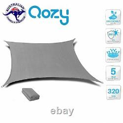 Qozy Super Extra Heavy Duty Sun Voile D'ombrage 320gsm Place Rectangle Triangle Gris