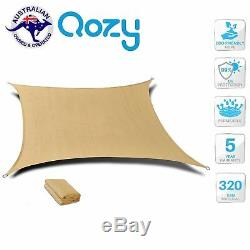 Qozy Super Extra Heavy Duty Sun Voile D'ombrage Triangle Rectangle 320gsm Place Sable