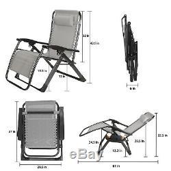Super Largeur 23 Zero Gravity Pliant Lounge Chaises De Plage Withholder 350lb Capacité