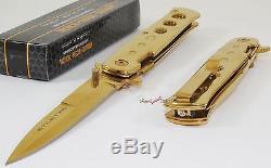 Tac-force Super Couteau D'or Parrain Stiletto Spring Assisted Pocket Ouvert