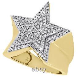 Véritable Diamant En Or Jaune 10k Super Star Déclaration Pinky Anneau 22mm Band 1/2 Ct