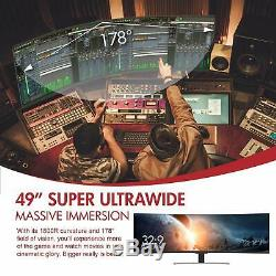 Viotek Suw49c 49 Pouces Super Ultrawide 329 Courbe Moniteur Haut-parleur Hdr 3840x1080p